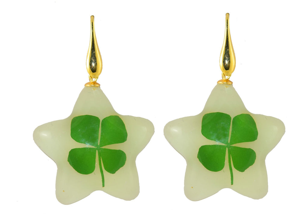 Glow in the dark Stars With Real 4 leaf clovers | Resin Earrings