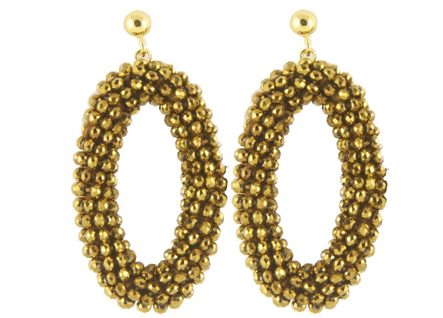 Golden Ovals | Crystals Earrings