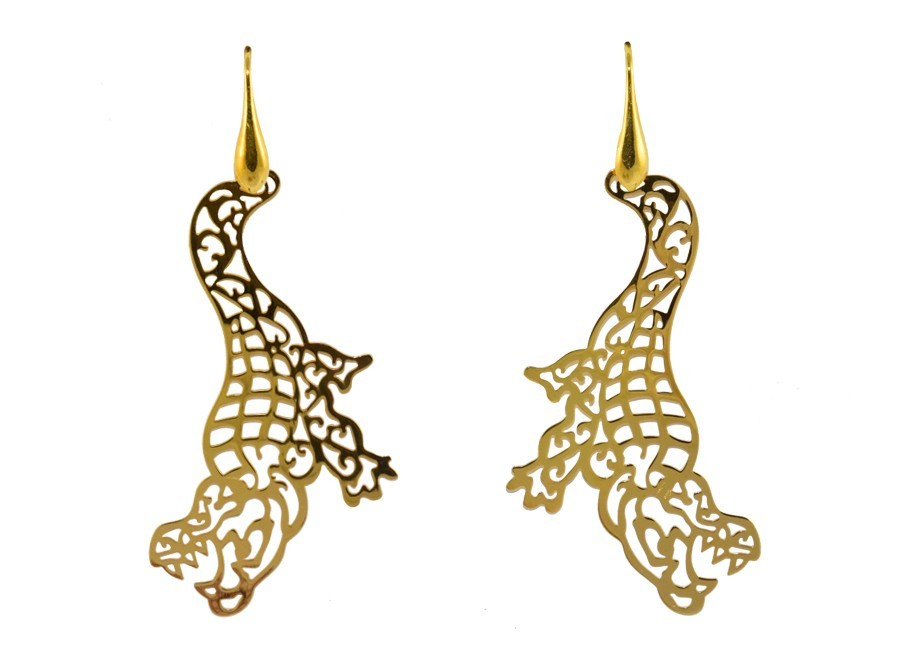 Golden Crocodiles | Gold Line Earrings