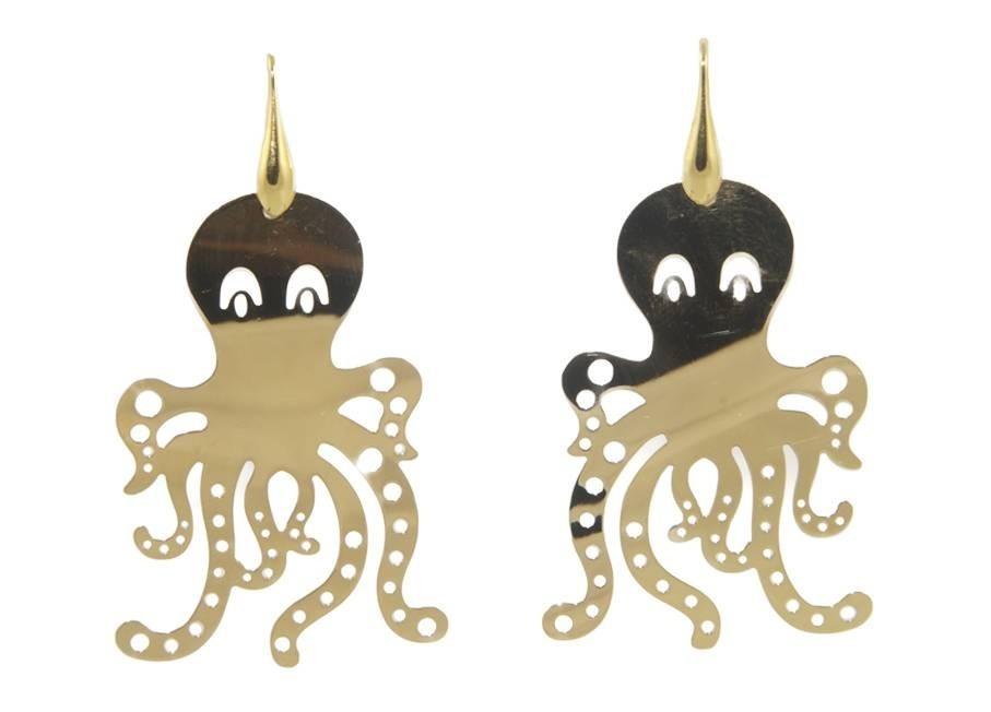 Golden octopuses | Gold Line Earrings