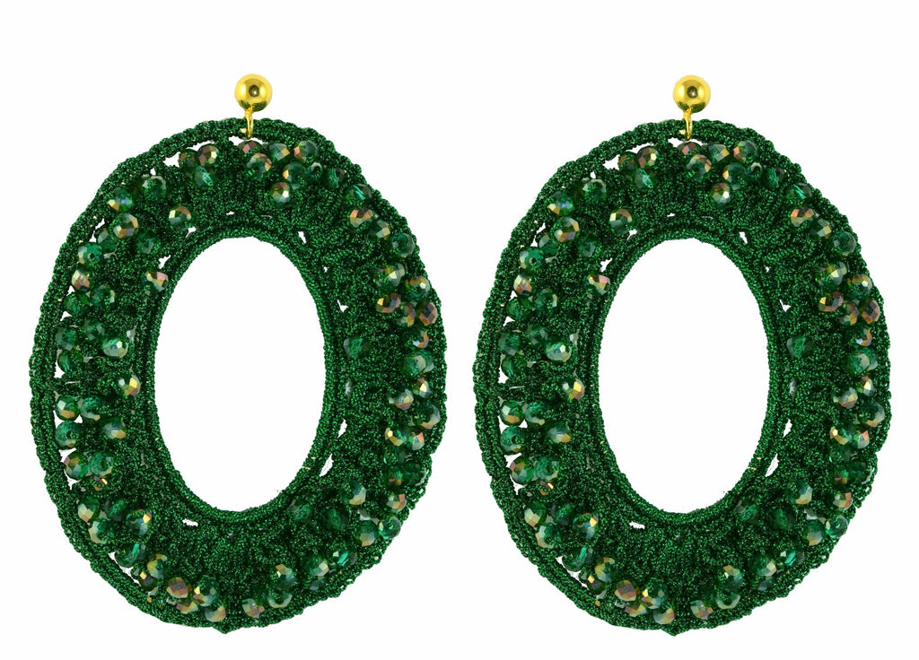 Green XL Crochet Ovals | Crystals Earrings