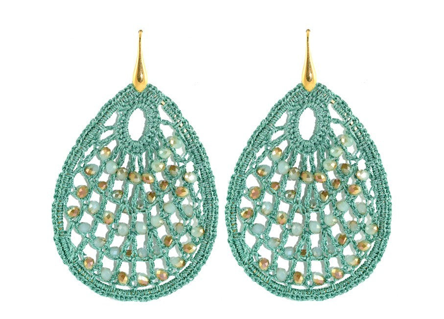 Mint green crochet drops