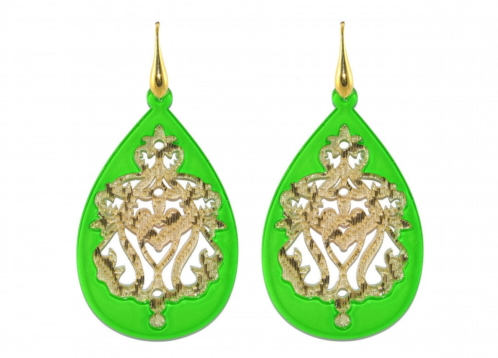 Apple green resin drops with golden ornaments | Resin Earrings