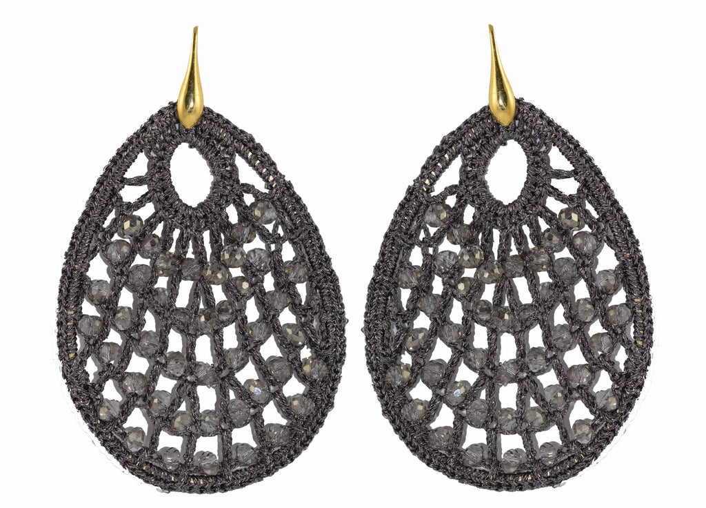 Grey Crochet Drops | Crystals Earrings
