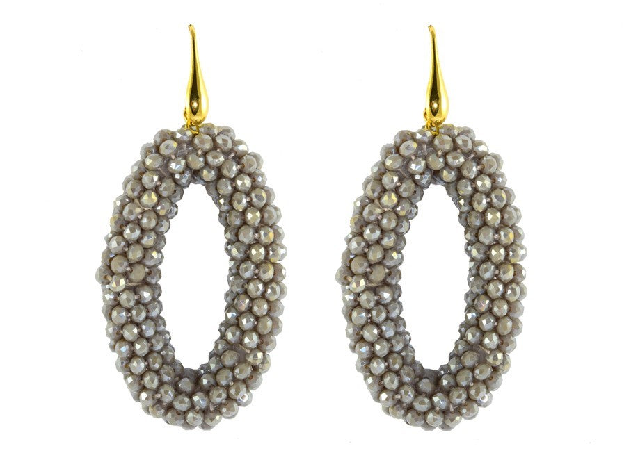 Grey Crystal Ovals | Crystals Earrings