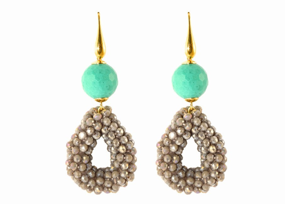 Grey Crystal small open drops with turquoise