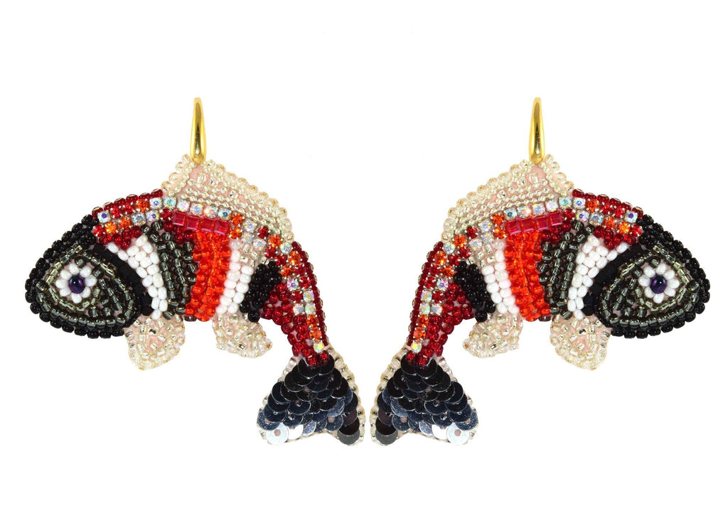 Fishes Black & Red | PatchArt Earrings