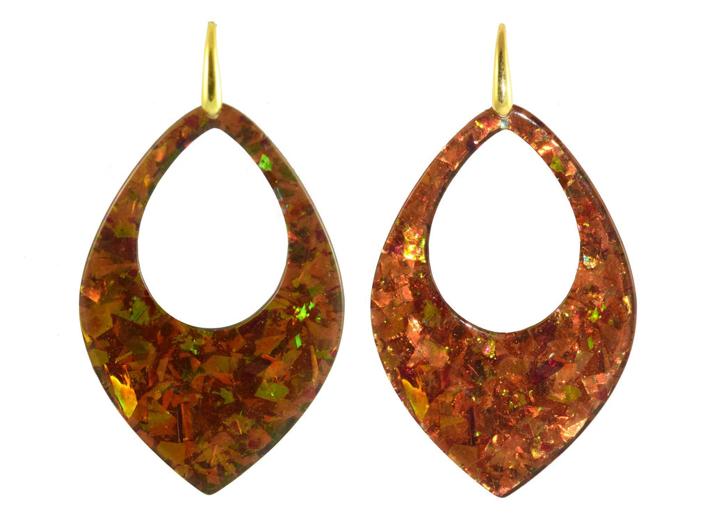 Copper sequin drops | Resin Oorbellen