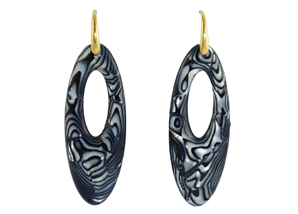 Dark Blue Marbled Ovals | Resin Earrings