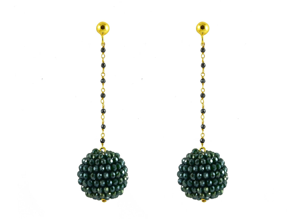 Dark green ball's | Crystals Oorbellen