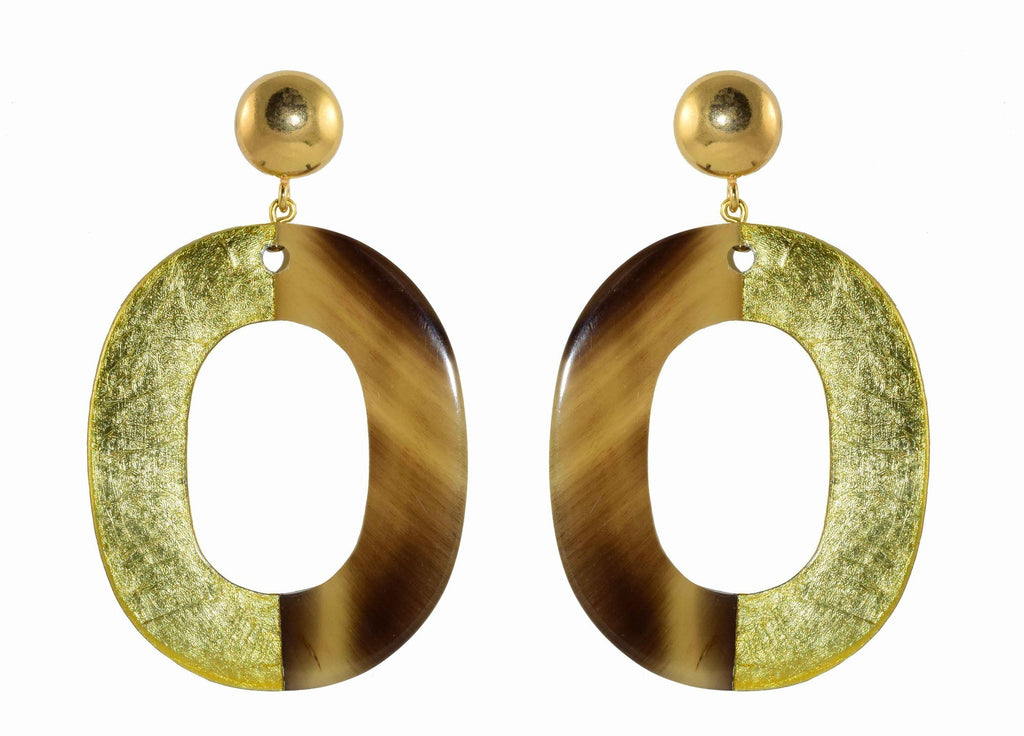 Horn with gold leaf ovals | Horn Oorbellen