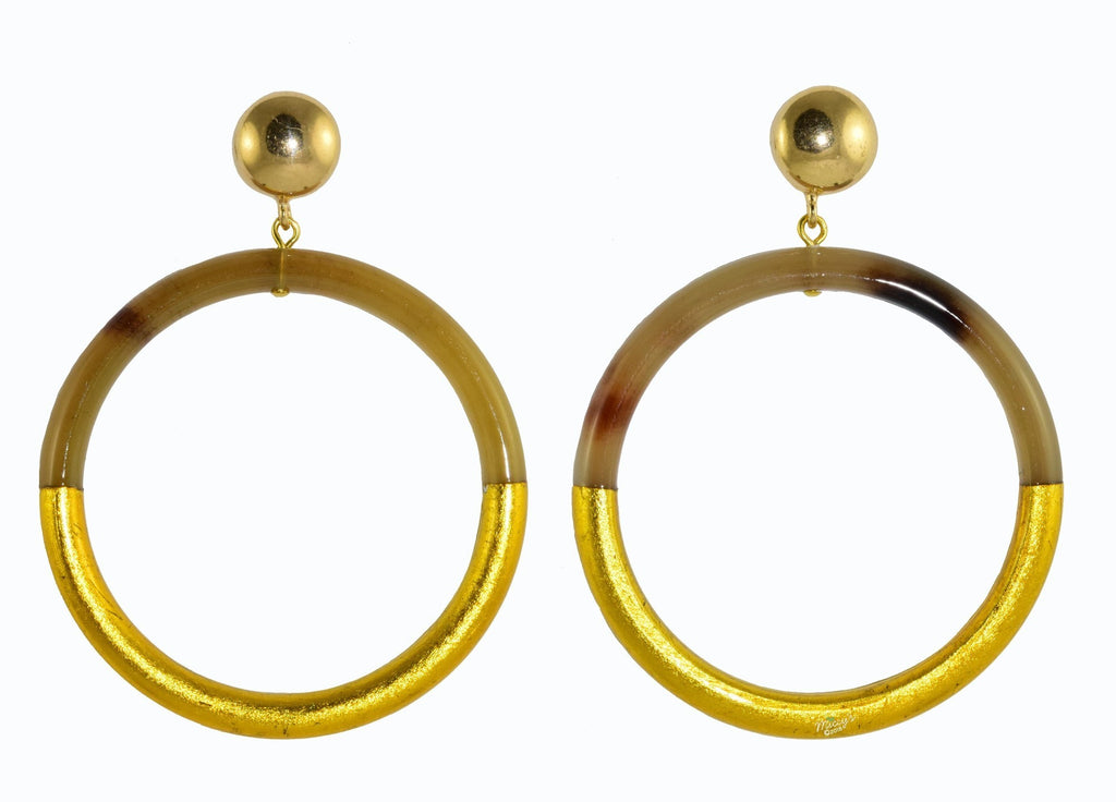 Golden Horn Hoops Medium | Horn Earrings