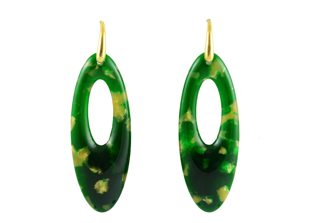 Dark Green With Golden Chips Ovals | Resin Earrings