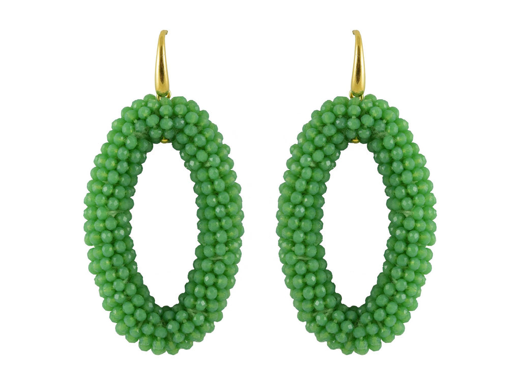Green ovals | Crystals Earrings