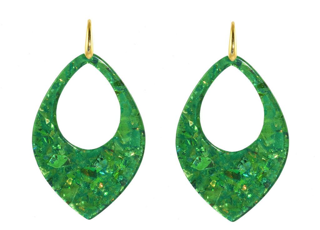 Green sequin drops | Resin Oorbellen