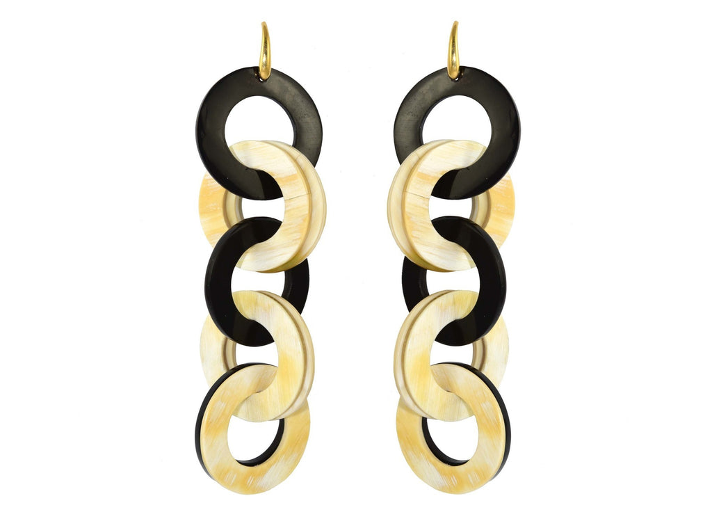 Black and Natural Horn Disc | Horn Earrings