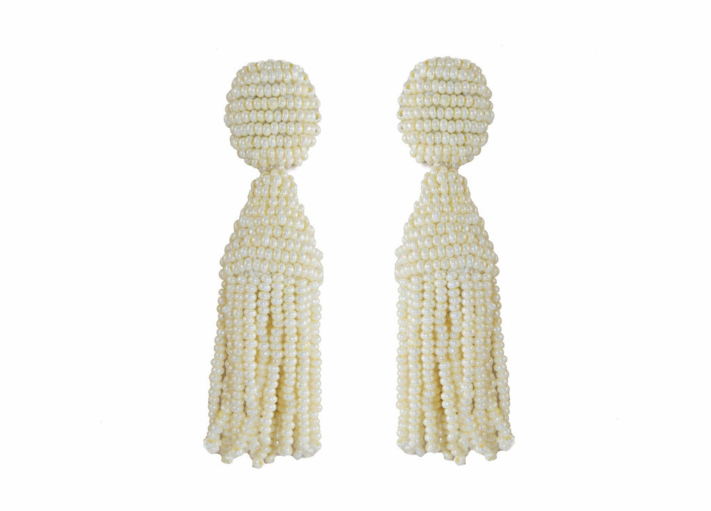 Ivory Short Tassels | Crystals Earrings