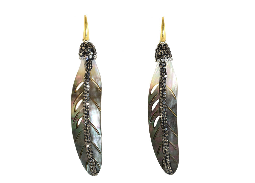 Grey MOP shell feathers with stones | Shell Earrings