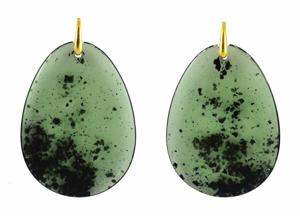 Olive green large flat drops | Resin Earrings