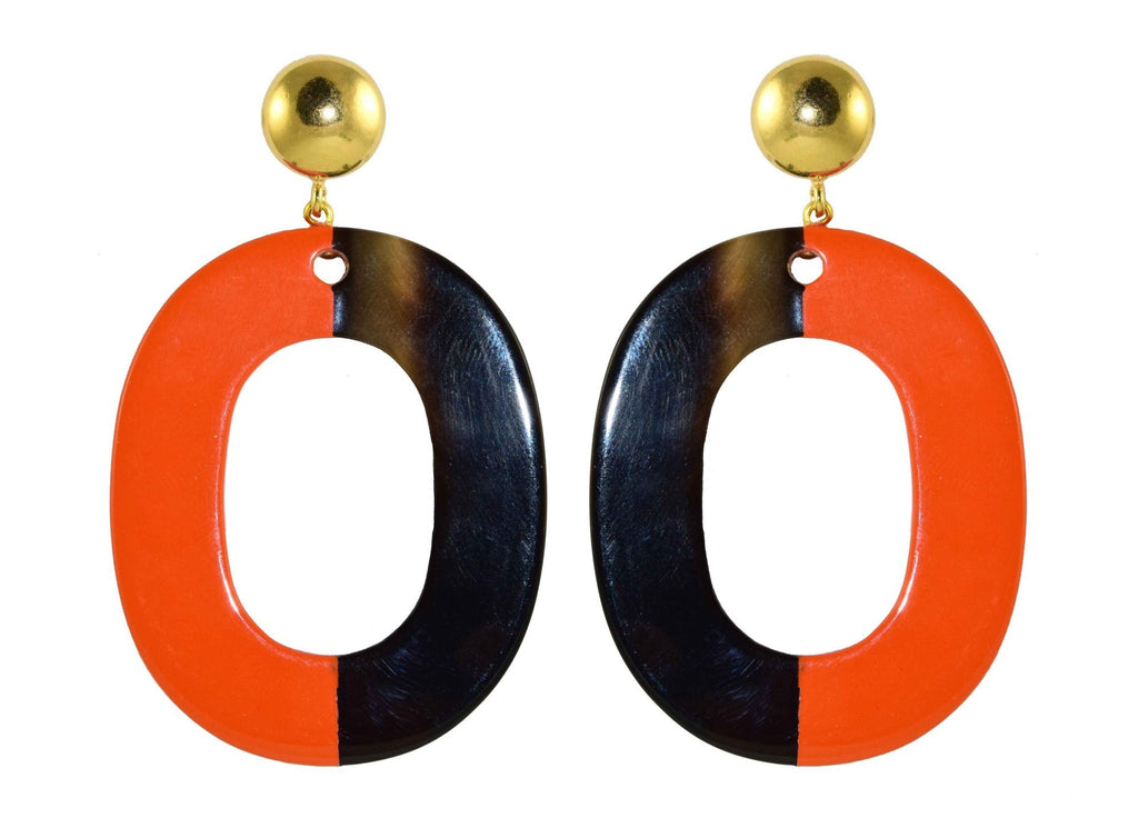 Orange Horn ovals | Horn Earrings