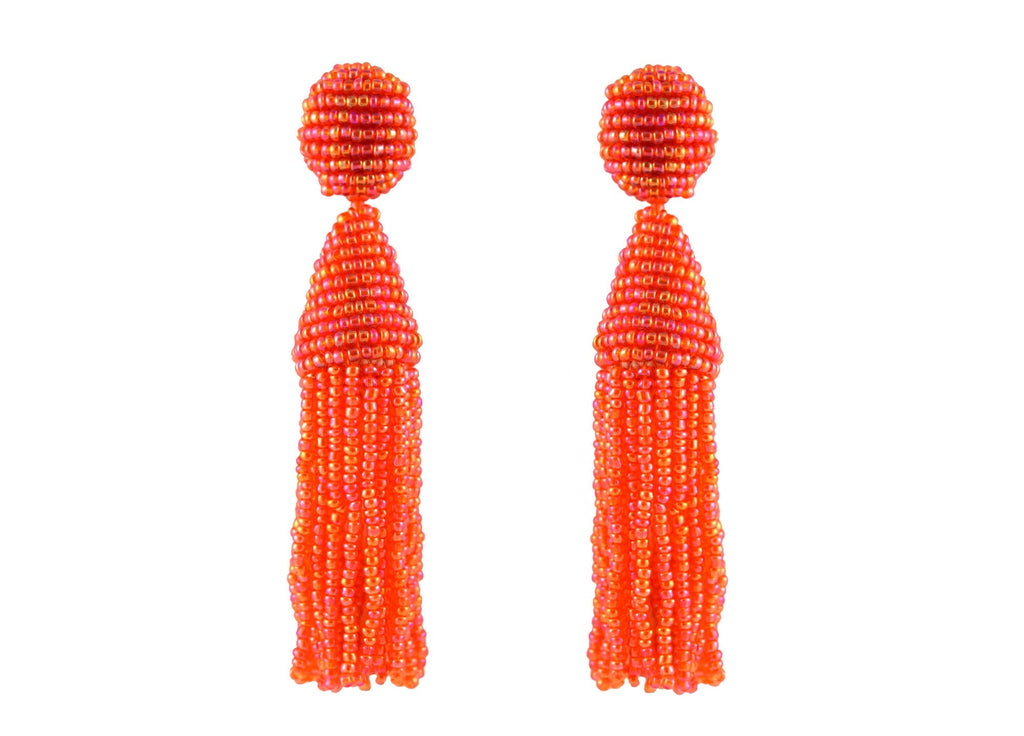 Orange Tassels | Crystals Earrings