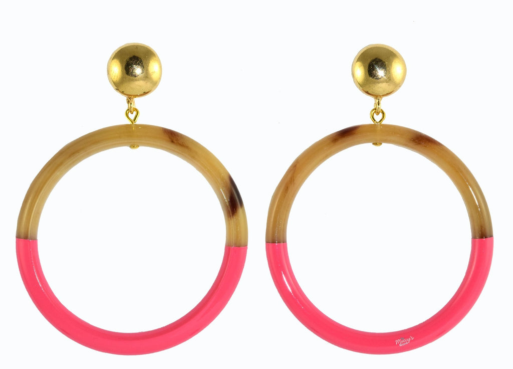 Pink Horn Hoops Medium | Horn Earrings