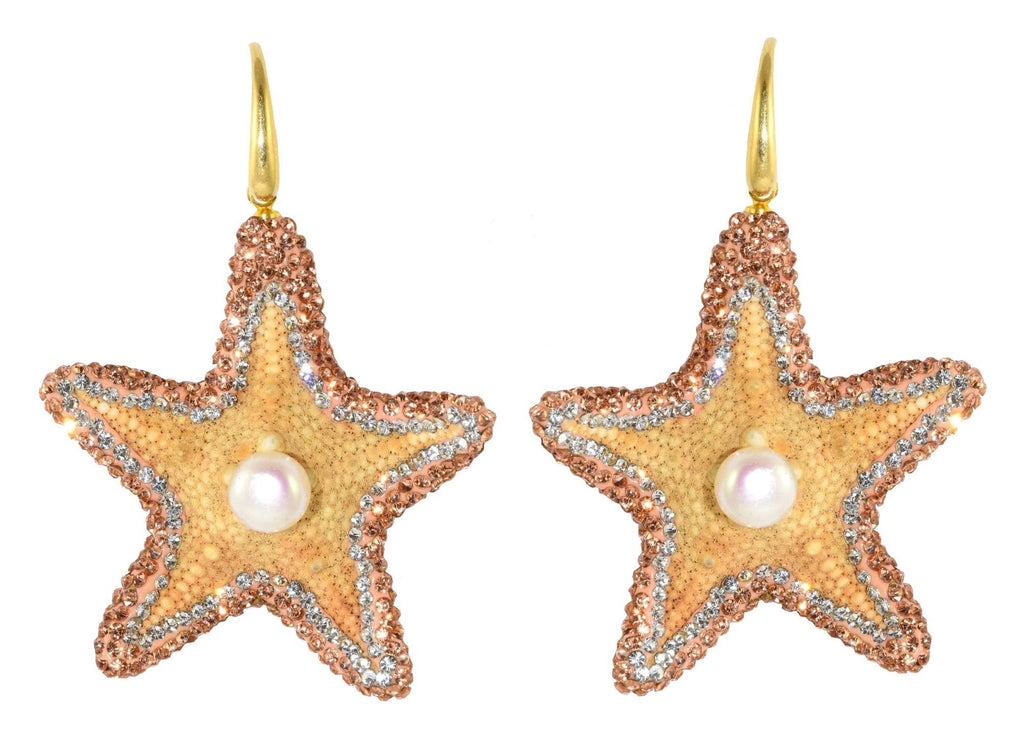 Real Starfishes With Stones | Shell Earrings