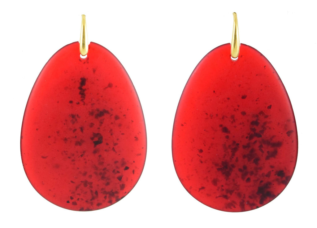 Large Red flat teardrop | Resin Earrings