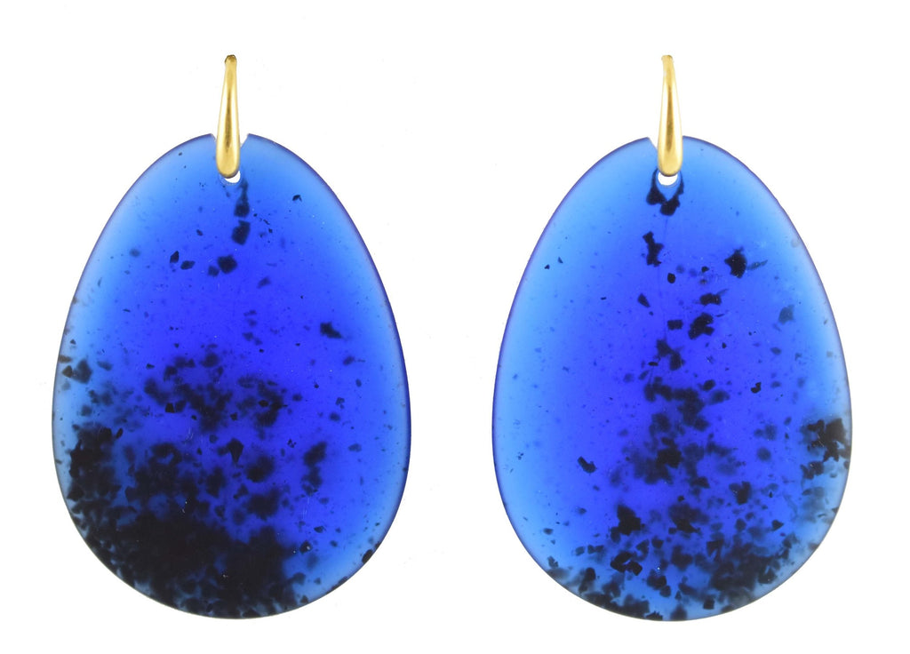 Royal Blue large flat drops | Resin Earrings