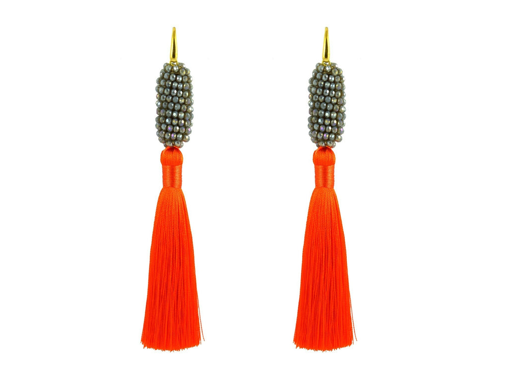 Raso Orange and Grey | Crystals Earrings
