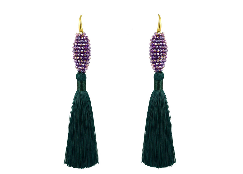 Raso Violet and Green | Crystals Earrings