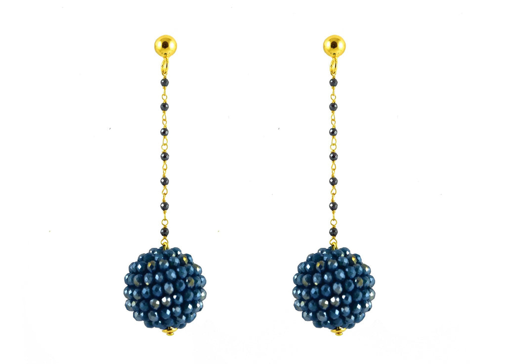 Teal Ball's | Crystals Earrings
