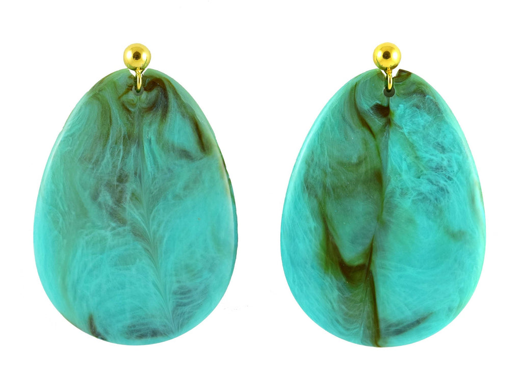 Turquoise marbled large flat drops