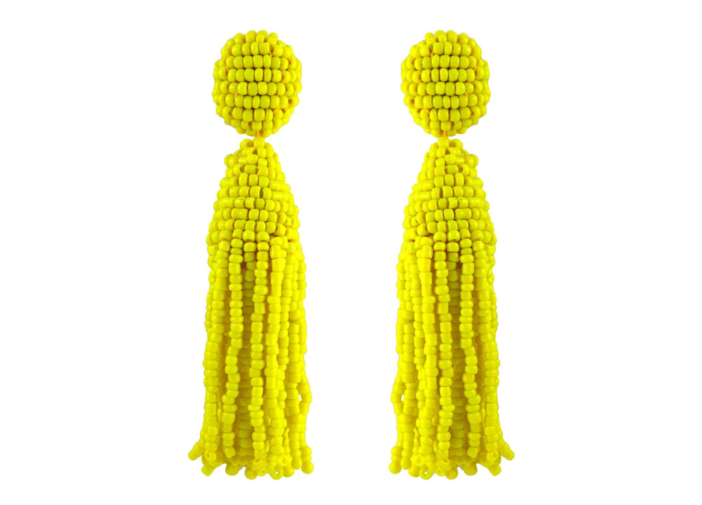 Yellow Tassels | Crystals Earrings