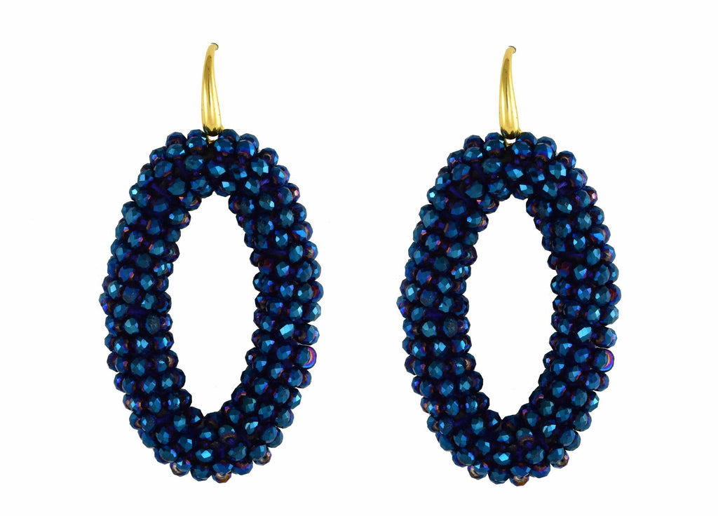 Midnight Blue Crystal Ovals | Crystals Earrings