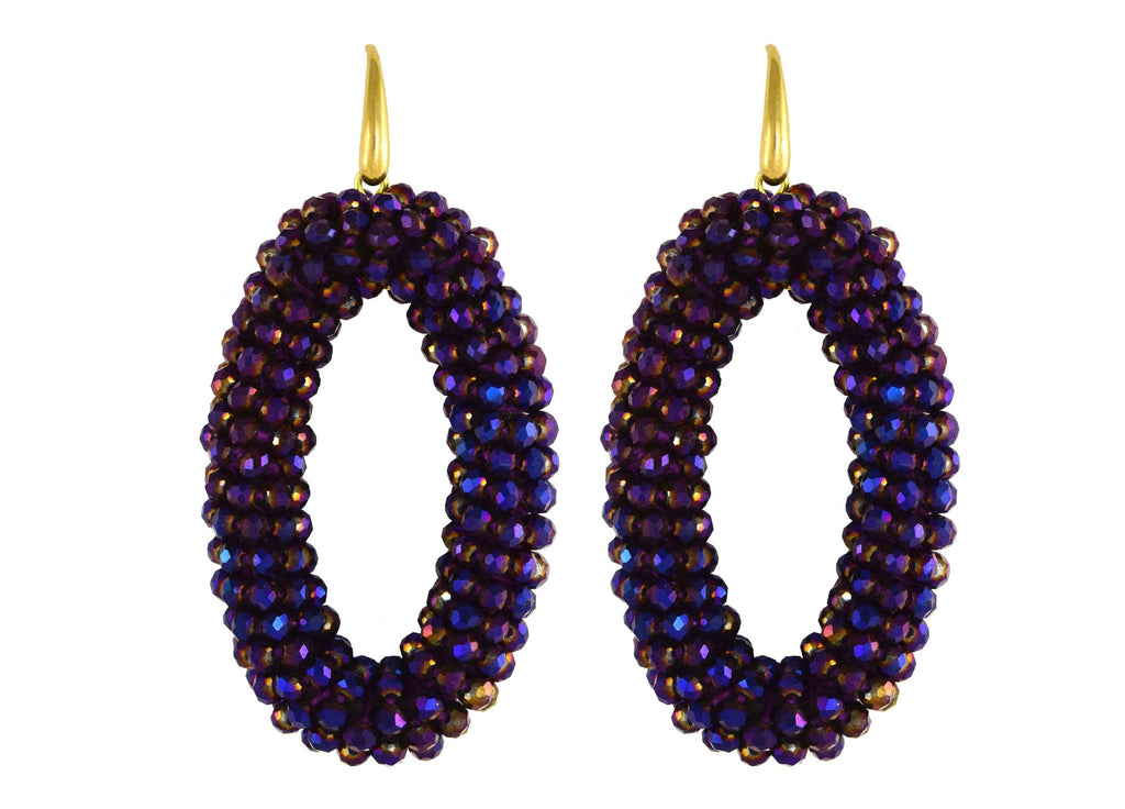 Midnight Purple Ovals | Crystals Earrings