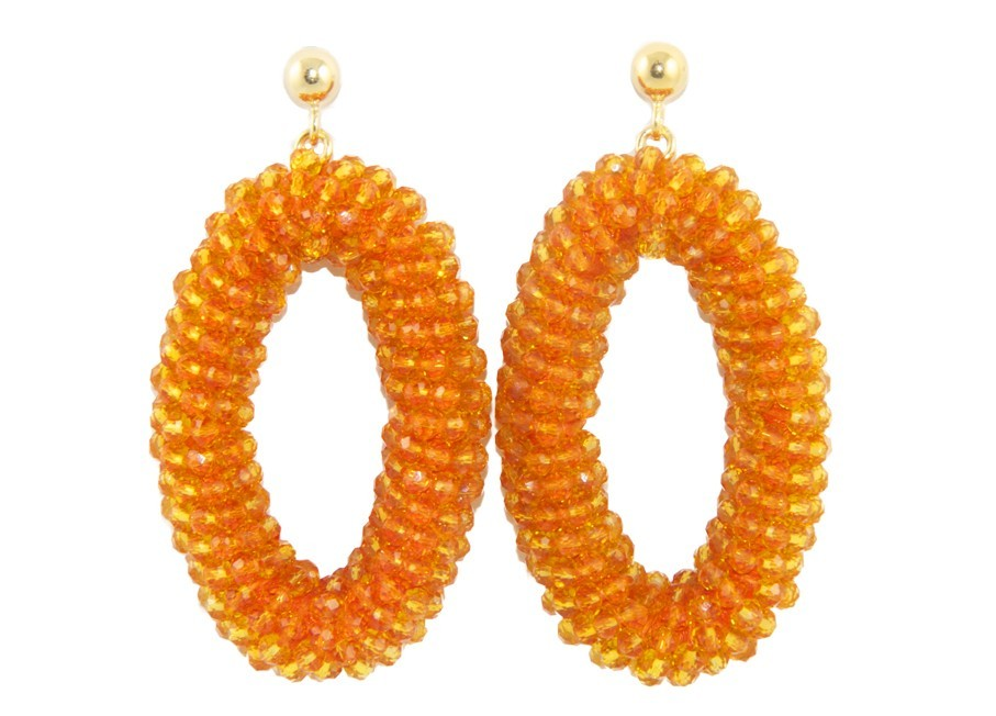 Orange Crystal Ovals | Crystals Earrings