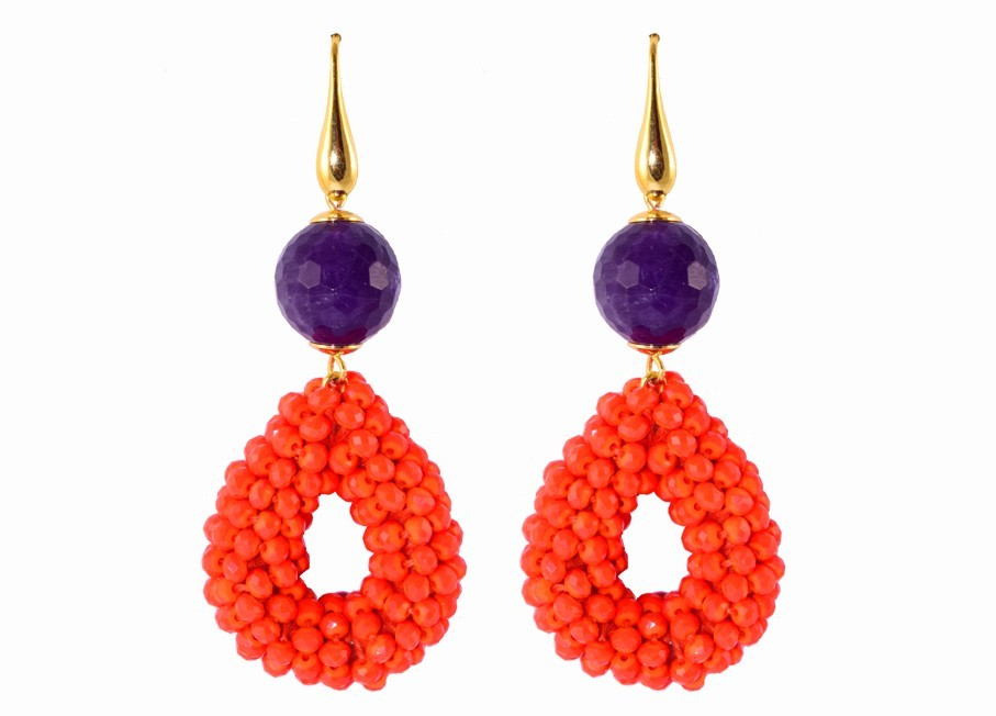 Orange small open drops with amethyst