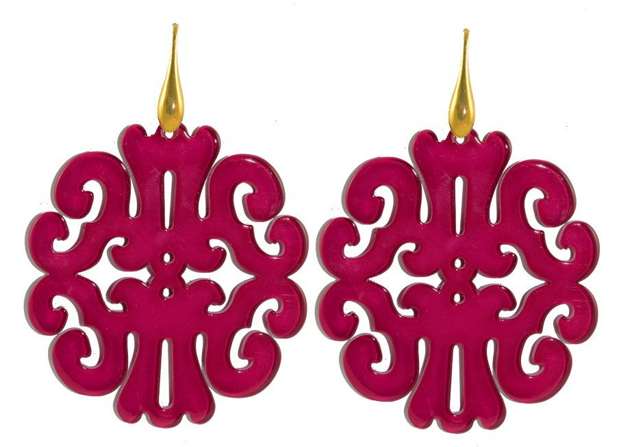 Fuchsia round ornaments | Resin Earrings