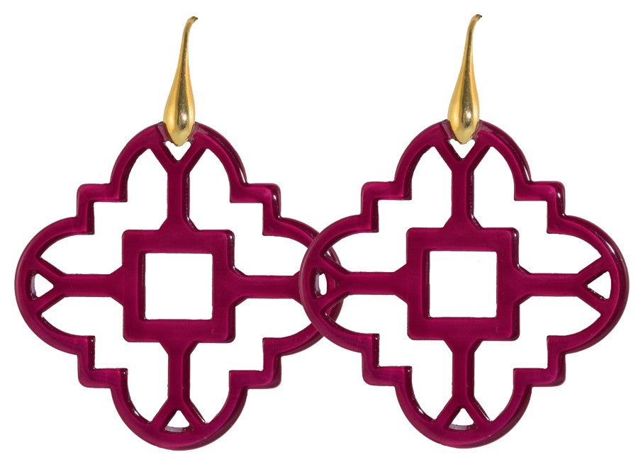 Fuchsia Mosaic Ornaments | Resin Earrings