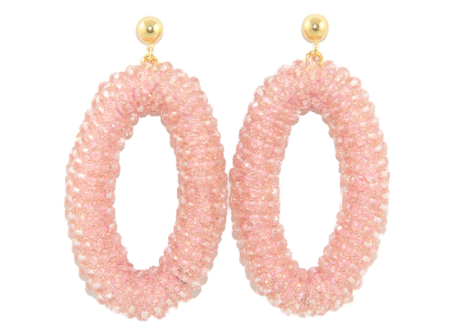 Powder Pink Crystal ovals | Crystals Earrings