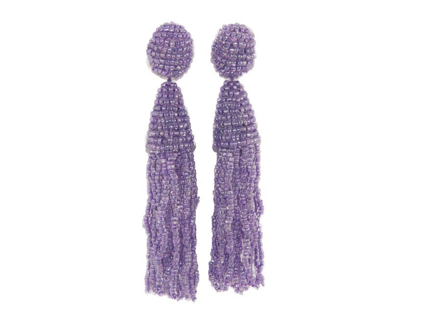 Lilac Long Tassels | Crystals Earrings