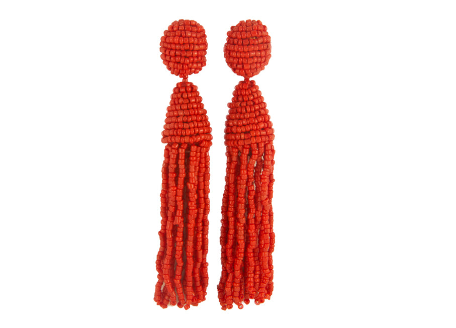 Coral Red Long Tassels | Crystals Earrings