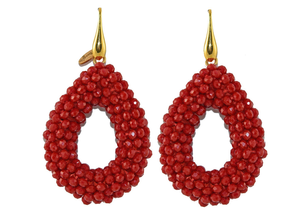 Red open Crystal drops | Crystals Earrings