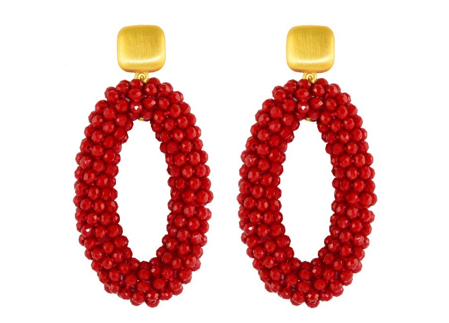 Red Crystal Ovals | Crystals Earrings