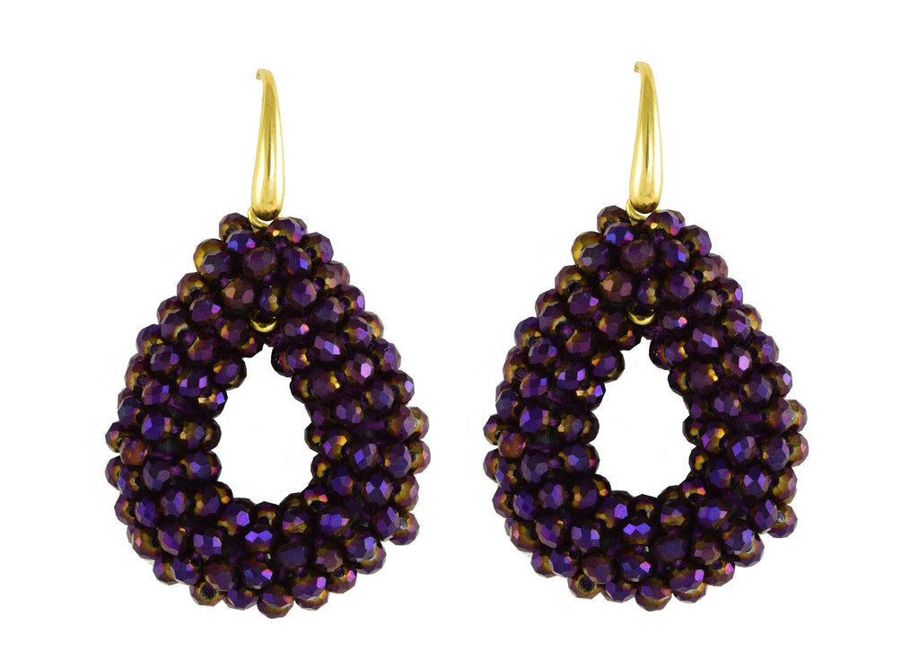 Midnight Purple Small Open Drops | Crystals Earrings