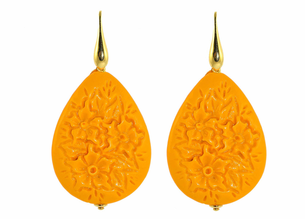 Yellow resin drops with carved flowers | Resin Earrings