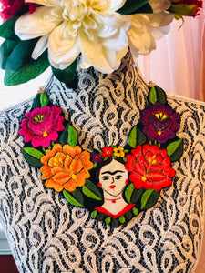 Frida Vintage Embroidered Floral Necklace
