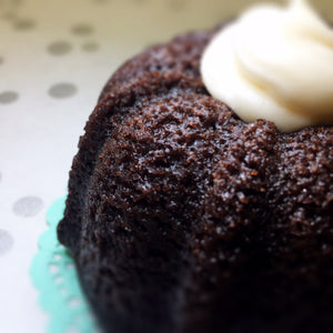 chocolate bundt cake with vanilla cream cheese frosting