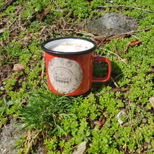 Load image into Gallery viewer, Woodland Blend - 12 oz Palo Santo & Pine enamel camping mug soy candles // LIMITED EDITION //